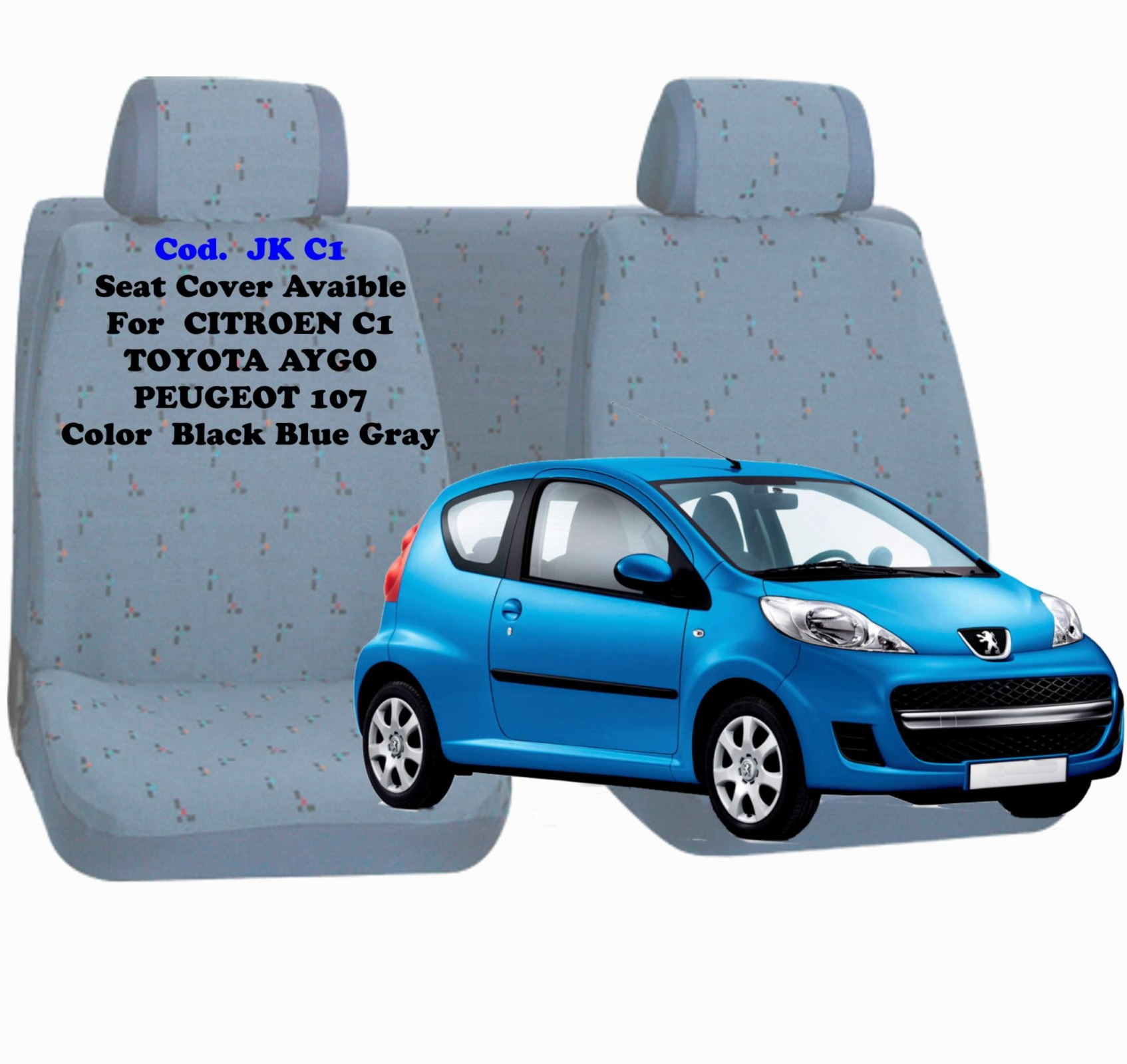 SEAT COVER AVAIBLE C1/AYGO/107 BLACK/BLUE/GREY