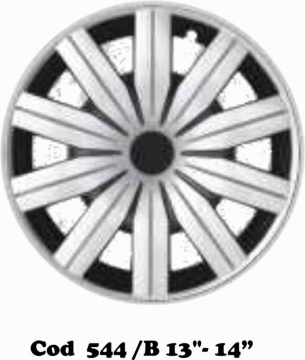 "UNIVERSAL WHEEL COVERS DOUBLE COLOR SILVER/BLACK MOD. 544 14""-15"""