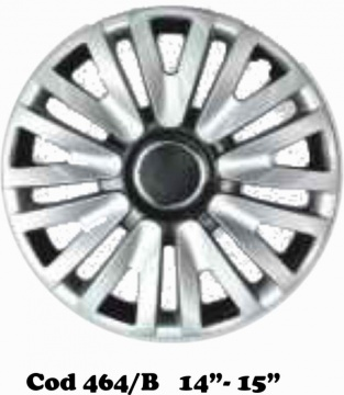 "UNIVERSAL WHEEL COVERS DOUBLE COLOR SILVER/BLACK MOD. 464 13""-14""-15"""