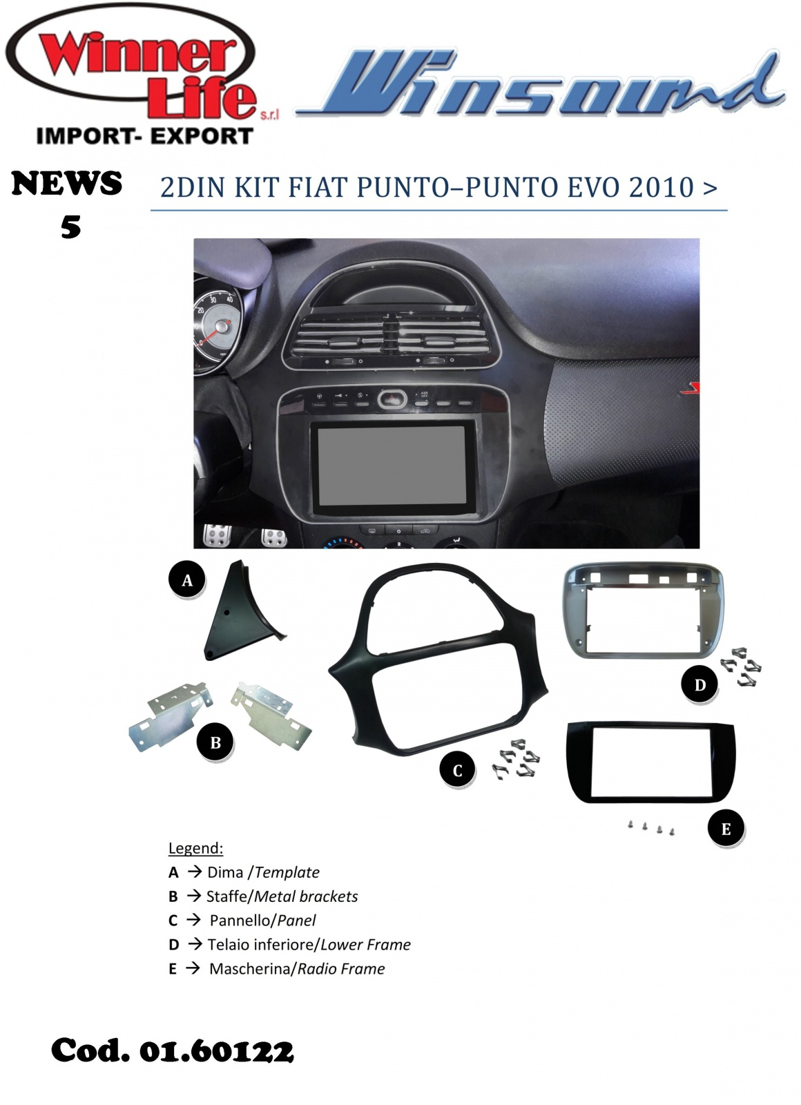Ongekend KIT DOUBLE DIN FIAT PUNTO EVO KF-86